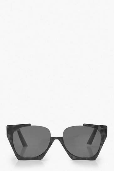 Womens Black Cut Out Oversized Square Sunglasses