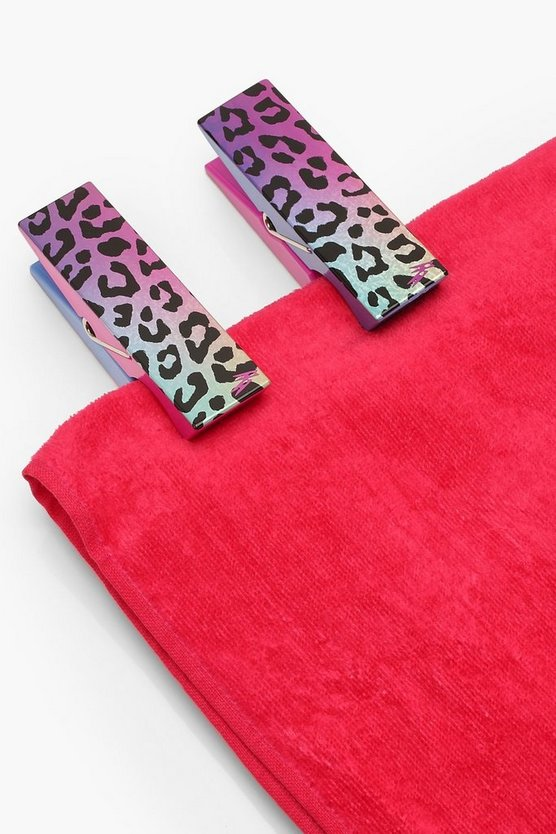 Womens Blue Holographic Leopard 2 Pack Towel Pegs