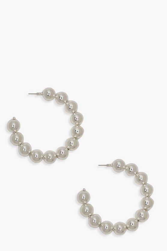 Silver Chunky Bead Hoop Earrings