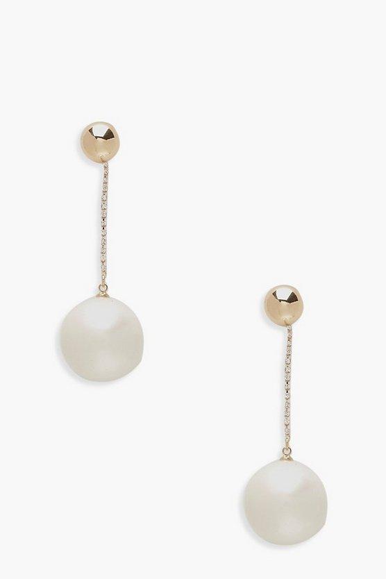 Oversized Pearl & Diamante Drop Earrings