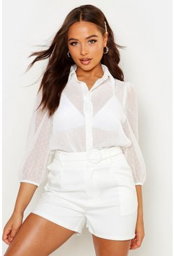 Womens White Dobby Spot Mesh Shirt