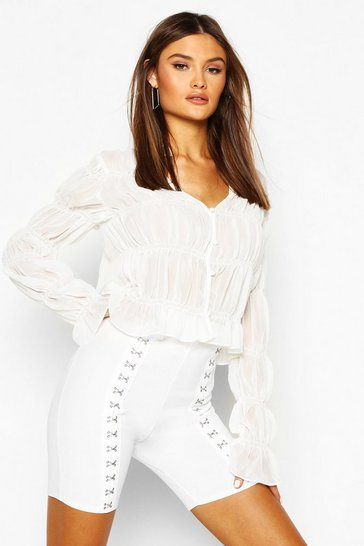 White Ruched Button Front Blouse