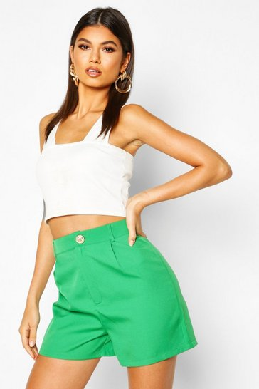 Womens Green Tailored Shorts