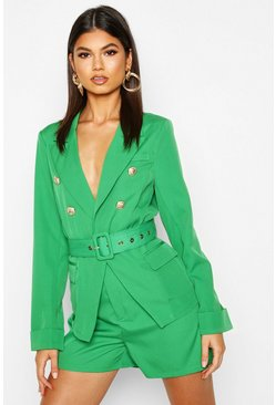 Womens Green Double Breasted Belted Blazer