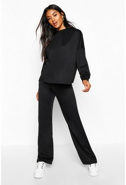 Womens Black Pocket Detail Lounge Co-Ord
