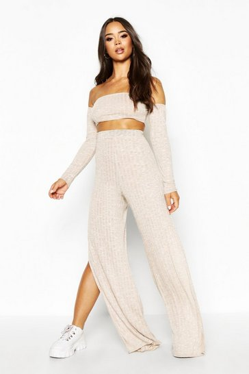 Womens Beige Bardot Ribbed Top & Wide Leg Trouser Co-Ord