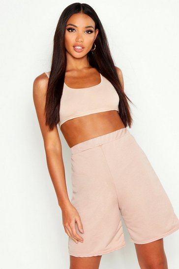 Womens Beige Square Neck Bralet & Lounge Short Co-Ord