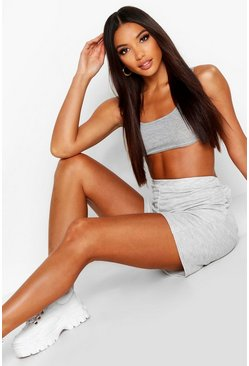 Womens Grey Square Neck Bralet & Lounge Short Co-Ord