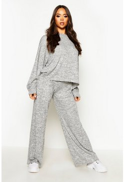 Womens Grey Oversized Top & Wide Leg Trouser Co-Ord