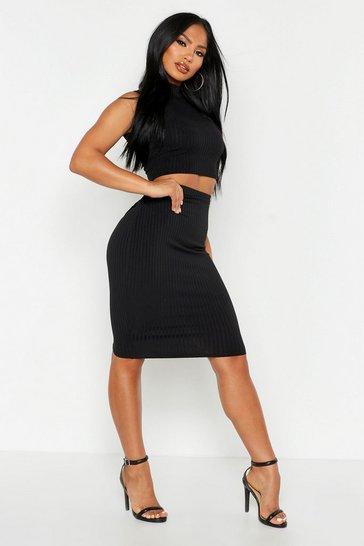 Black Rib High Neck Top & Midi Skirt Co-ord