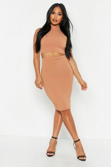 Womens Camel Rib High Neck Top & Midi Skirt Co-ord