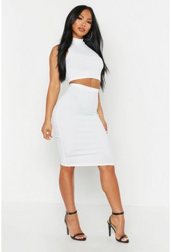 Ecru Rib High Neck Top & Midi Skirt Co-ord
