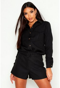 Womens Black Tailored Boucle Short