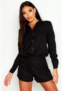Womens Black Utility Pocket Boucle Shirt