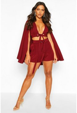 Womens Burgundy Cape Detail Cross Front Top