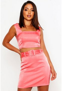 Womens Rose Belted A-Line Mini Skirt