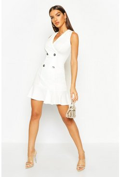 Womens Ivory Double Breasted Frill Bottom Blazer Dress