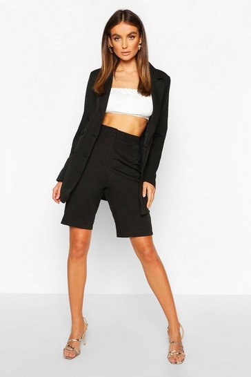Womens Black Tailored Long Line Short