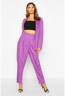 Womens Purple High Waisted Exaggerated Tapered Tailored Trouser