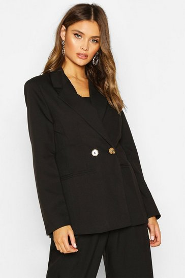 Womens Black Double Breasted Strong Shoulder Blazer