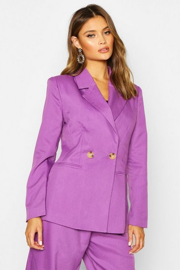 Womens Purple Double Breasted Strong Shoulder Blazer