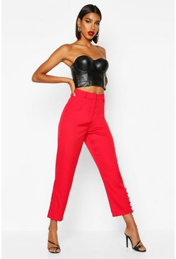 Red Tailored Button Detail Trouser