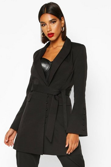 Black Button Detail Flared Sleeve Belted Blazer