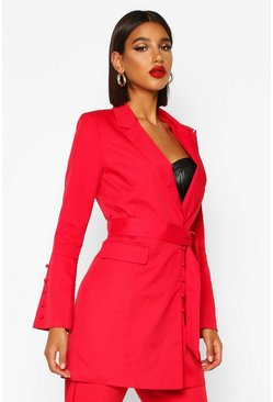 Womens Red Button Detail Flared Sleeve Belted Blazer