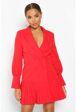 Womens Red Pleated Hem Blazer Dress