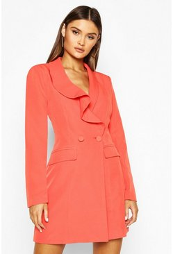 Orange Ruffle Detail Blazer Dress