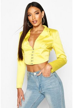 Chartreuse Satin Corset Detail Cropped Blazer
