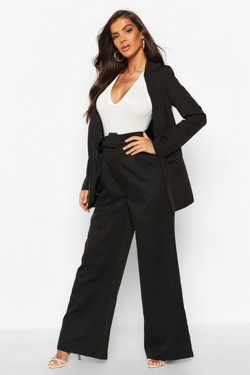 Womens Black Wide Leg Belted Trouser