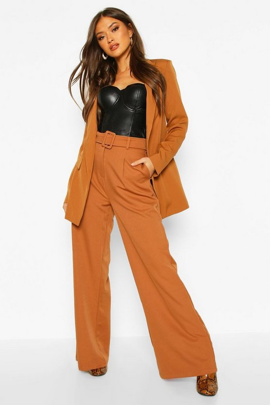 Womens Camel Wide Leg Belted Trouser