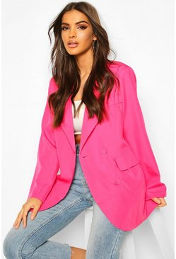 Womens Hot pink Oversized Boyfriend Blazer