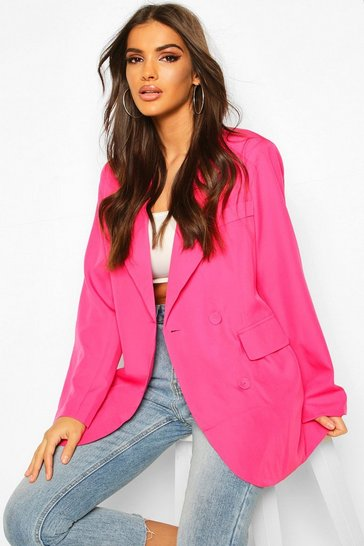 Hot pink Oversized Boyfriend Blazer