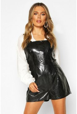 Black Croc Pu Pinafore Playsuit