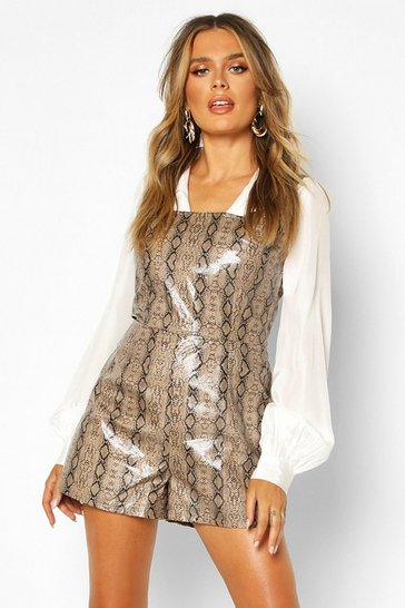 Womens Brown Croc Pu Pinafore Playsuit