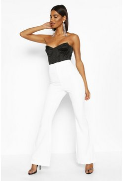 Womens Ivory Slim Flare Tailored Trouser