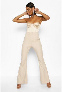 Womens Taupe Slim Flare Tailored Trouser