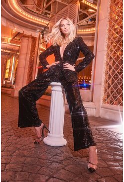 Womens Black Sequin Wide Leg Trouser