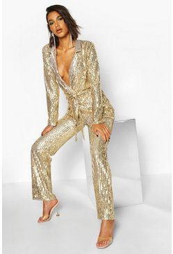 Womens Gold Sequin Wide Leg Trouser