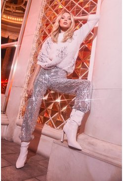 Womens Silver Sequin Wide Leg Trouser