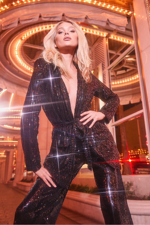 70s Jackets, Furs, Vests, Ponchos Womens Sequin Tie Belt Blazer - Black - 10 $85.00 AT vintagedancer.com