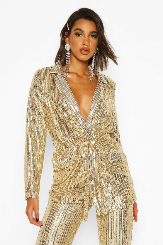 Gold Sequin Tie Belt Blazer