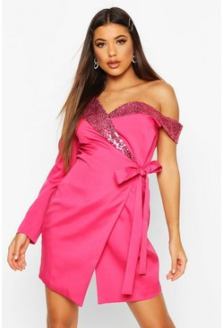 Bright pink Asymmetric One Sleeve Sequin Collar Blazer Dress