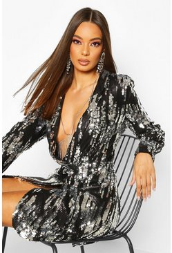 Womens Black All Over Sequin Blazer Dress