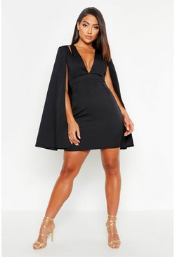 Black Cape Detail Tailored Dress