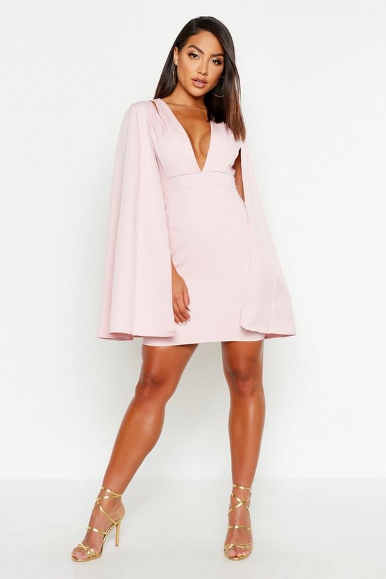 Womens Blush Cape Detail Tailored Dress