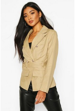 Stone Military Detail Belted Twill Blazer