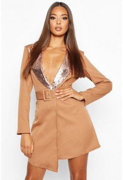 Womens Rose gold Self Belt Sequin Collar Blazer Dress